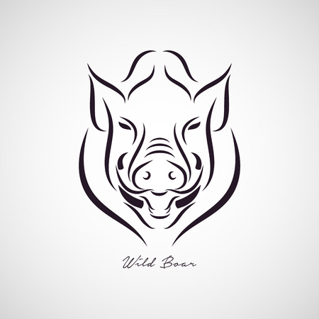 wild nature: Wild boar logo vector