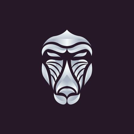 mandrill: Baboon logo vettoriale Vettoriali