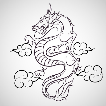 Dragon logo vector Çizim