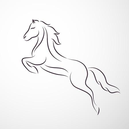 caballos negros: Horse logo Vectores