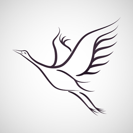 bird drawing: Crane bird vector