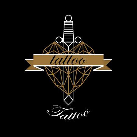 studio logo: Vector of Modern tattoo studio logo templates on dark background