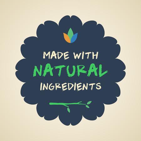 Natural Ingredients Badge Illustration