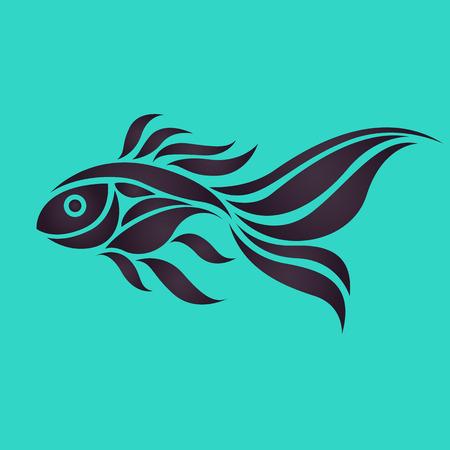 pez dorado: Goldfish vector logo Vectores