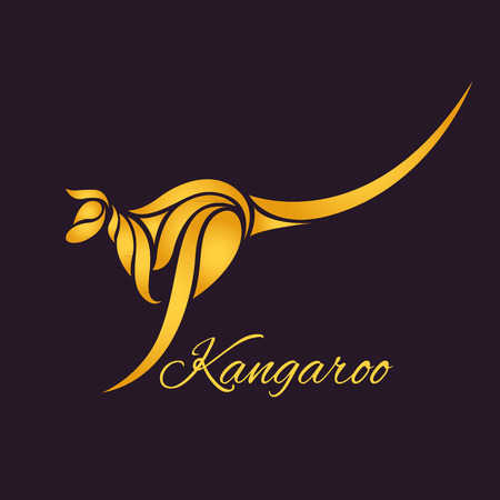 kangaroo white: kangaroo logo vector