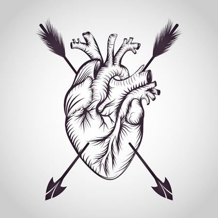 Heart tattoo  vector Illustration