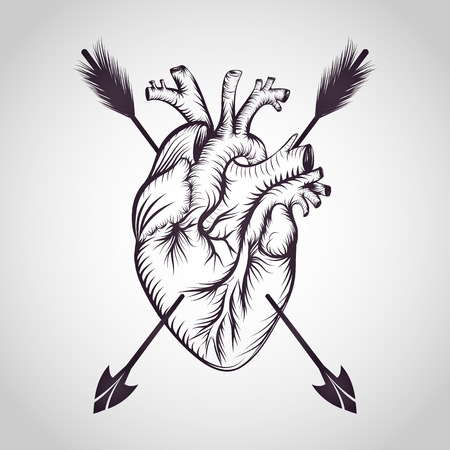 Heart tattoo logo vector