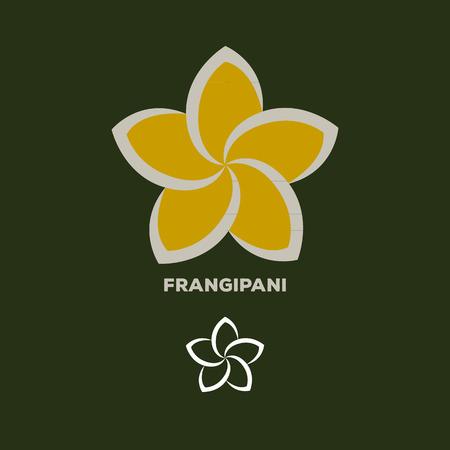 frangipani flower logo vector Illustration