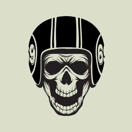 casco moto: Cráneo del motorista de la vendimia