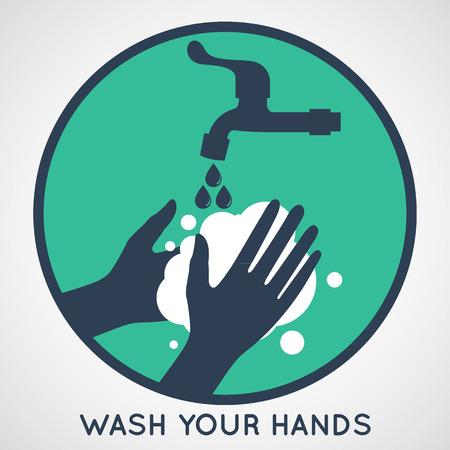 Waschen Sie Ihre Hände Symbol Standard-Bild - 41507095