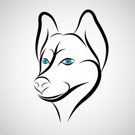 siberian husky: Husky Dog logo vector