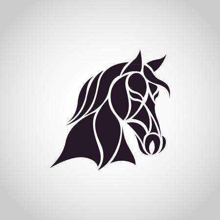 carreras de caballos: Cabeza de caballo - ilustraci�n vectorial