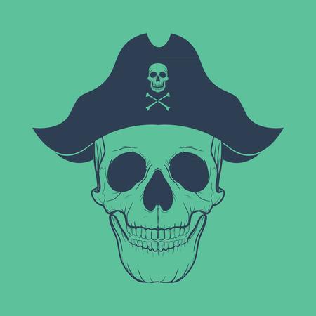 skull with crossed bones: Pirate head symbols with skull and crossed bones Illustration