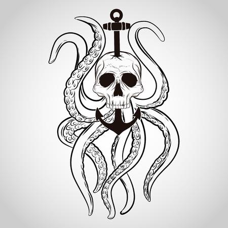 calavera pirata: Diseño de la camiseta. Cráneo con pulpo y ancla en un estilo del tatuaje.