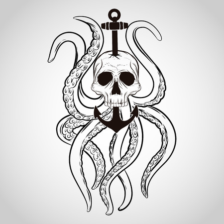 pirate skull: T-shirt design. Skull with octopus and anchor in a tattoo style. Illustration