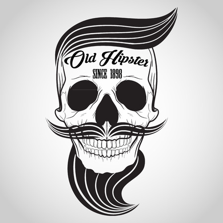 hipster Skull logo Illustration