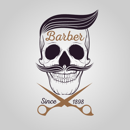 barber: retro barber shop, Skull icon Illustration
