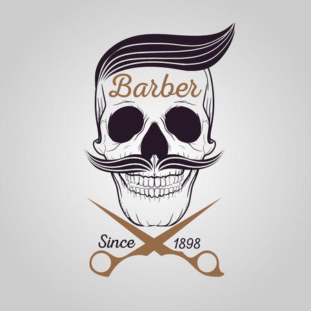 calaveras: tienda retro peluquero, icono de cr�neo