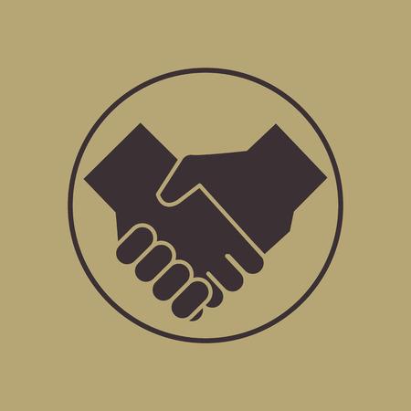 handshake icon vintage style Çizim
