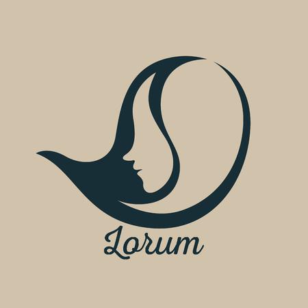 strong women: Woman face logo design template