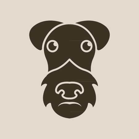 Dog airedale terrier logo Illustration