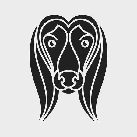 borzoi: dog afghan hound logo vector