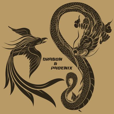 draak en phoenix Stock Illustratie