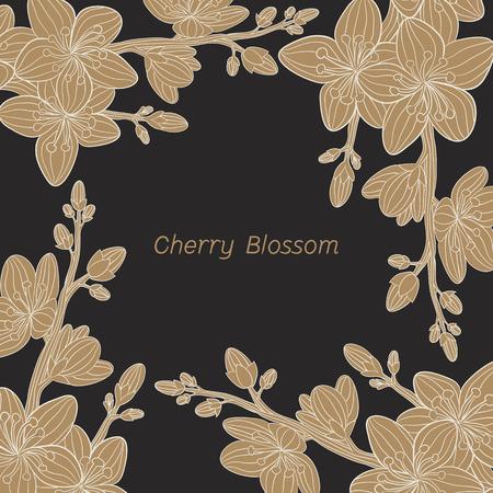 budding: cherry blossom flower vector Illustration