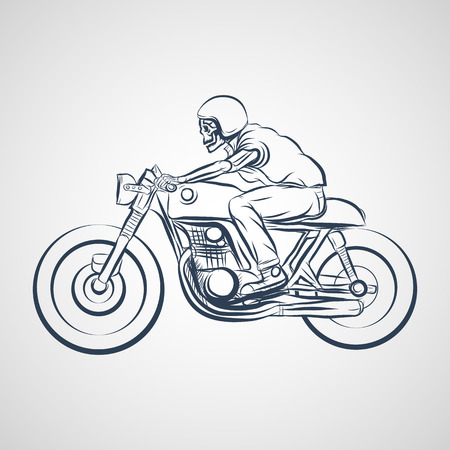 racer: skull ride a classic cafe racer motorcycle