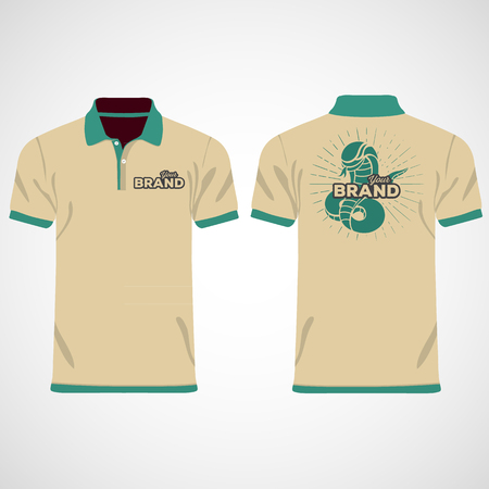 Color men polo shirts. Design template. Vector illustration
