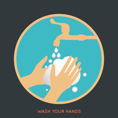 please wash your hands label: wash your hands symbol Illustration