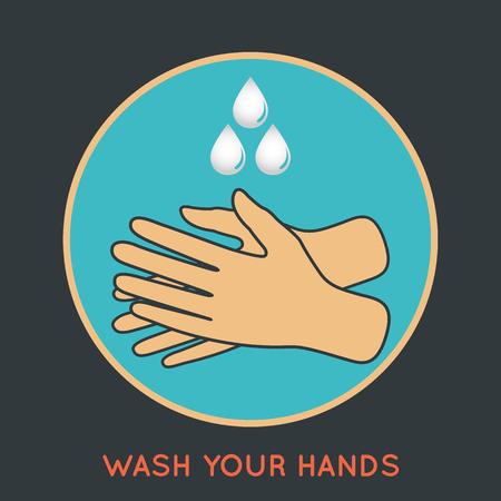 hospital germ: wash your hands symbol Illustration