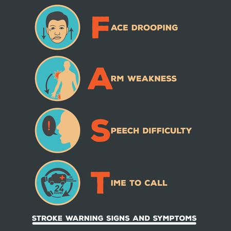 Signos y síntomas de advertencia de accidente cerebrovascular Foto de archivo - 58123867