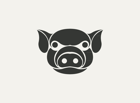 curly tail: pig  template vector design Illustration