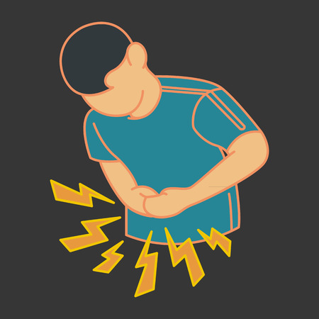 menstrual: stomachache pain   vector icon Illustration