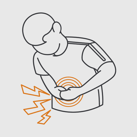 stomachache pain  vector icon