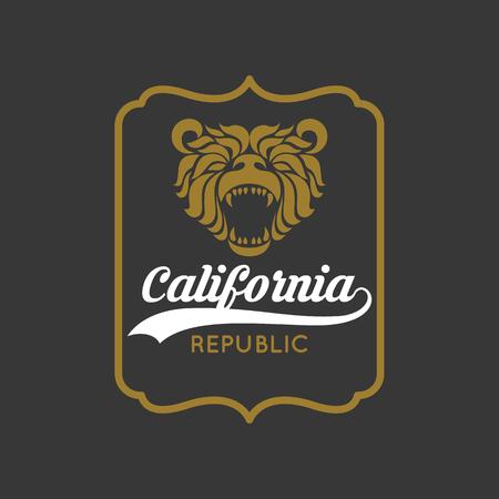 Vintage California Republic bear with sunbursts, t-shirt print graphics