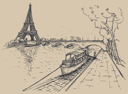 white: illustration of Eiffel Tower in sketch style, hand drawn illustration. illustration.