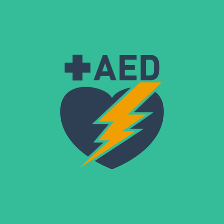 automated: AED (Automated External Defibrillator) vector logo