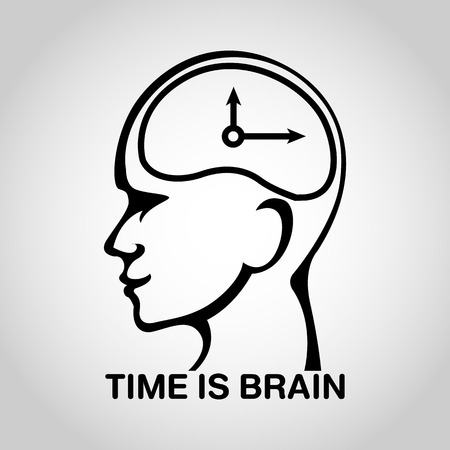 hemorragia: stroke brain  vector icon design, time is brain Vectores