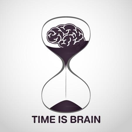 stroke brain logo vector icon design, time is brain