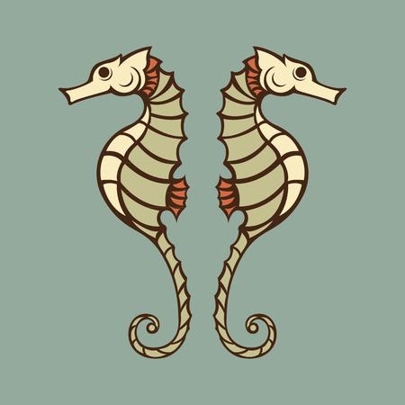 Seahorse logo vector icon illustrator. Illustration