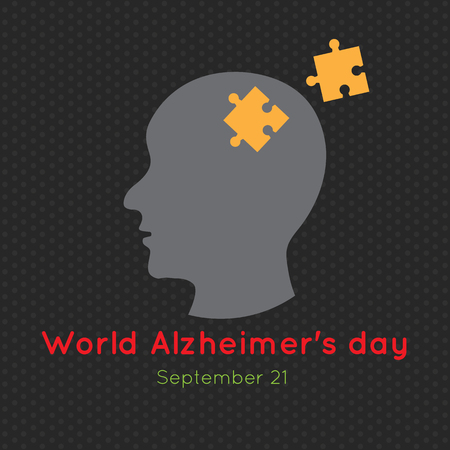 Creative illustration, poster or banner of World Alzheimers day.
