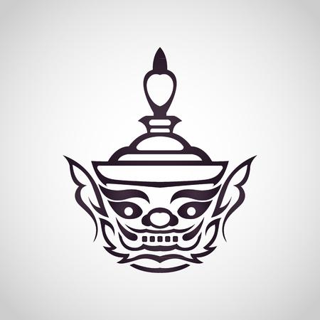 거 대 한 태국, 빈티지 전통적인 태국 스타일의 벡터 얼굴 일러스트