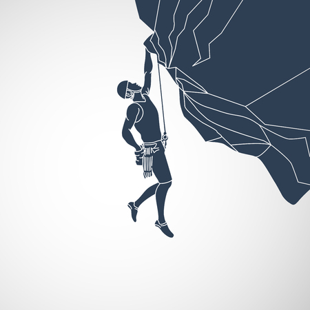 Climbing vector logo icon illustration