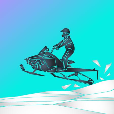 snowmobiling vector logo icon illustration 일러스트