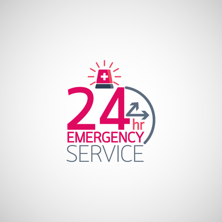 24hr Emergency service logo. Vector illustration. Vectores