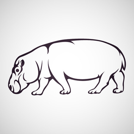 Hippopotamus vector icon illustration Иллюстрация