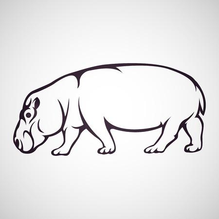 Hippopotamus vector icon illustration Vettoriali