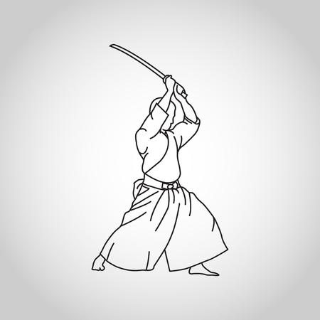 Iaido vector icon illustration Vettoriali